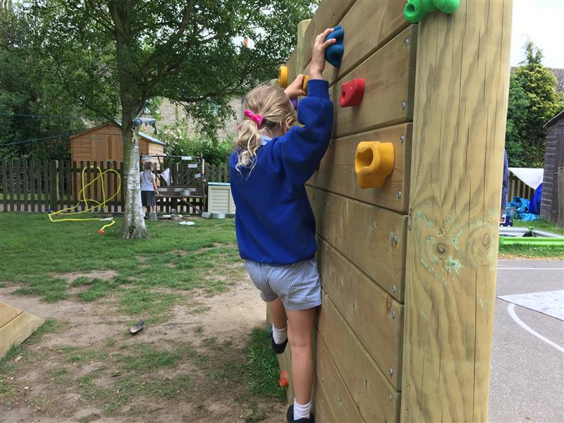 school playground climbing wall