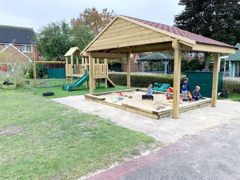 Outdoor play equipment installed in a nursery garden
