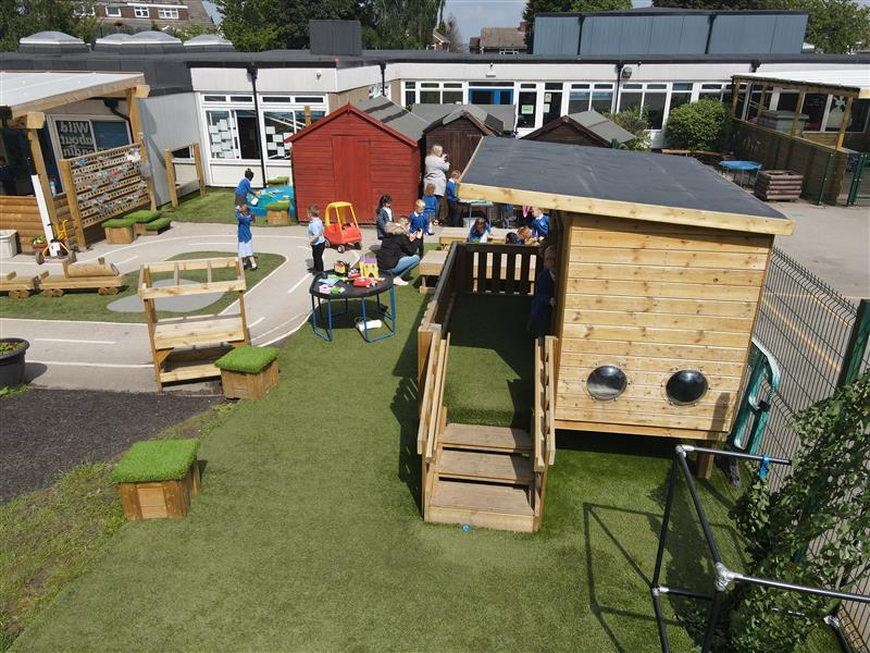 a birds eye view of our playhouse