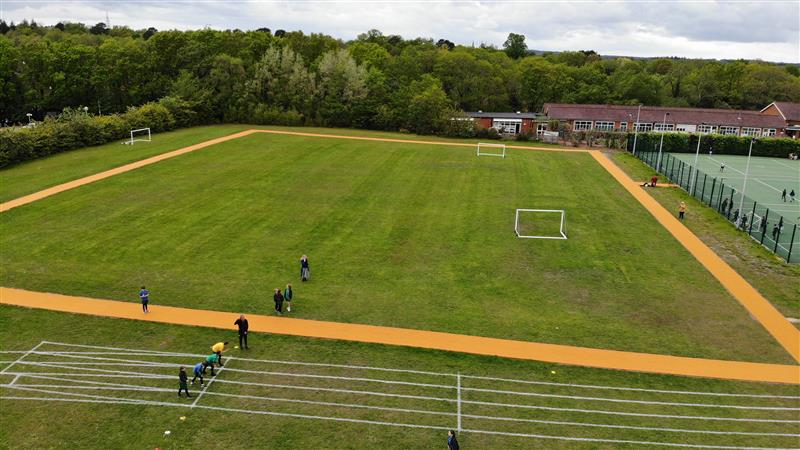 a birds eye view of th daily mile track at connaught junior school