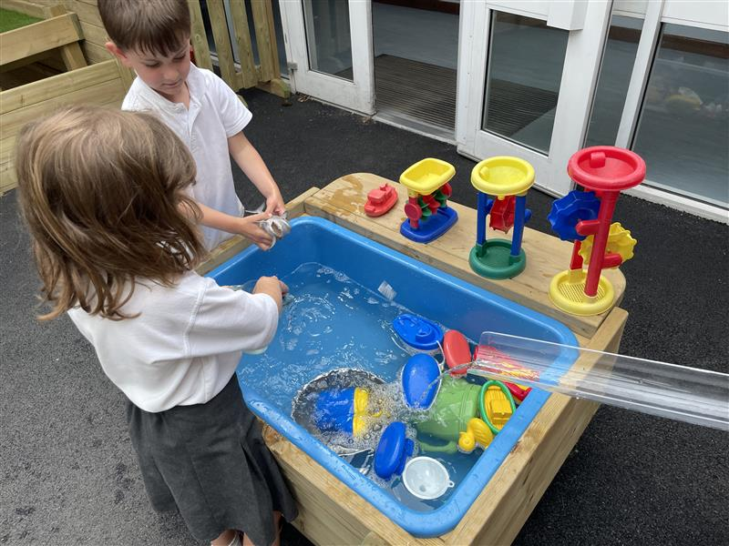 children playing on our water table