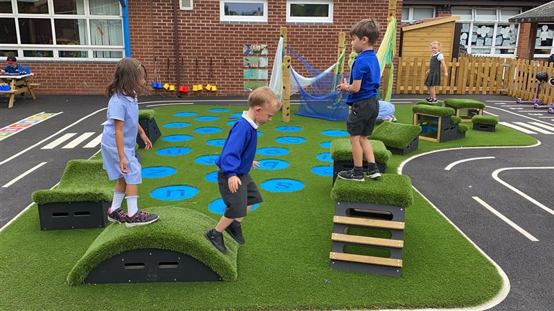 children playing on our get set go blocks