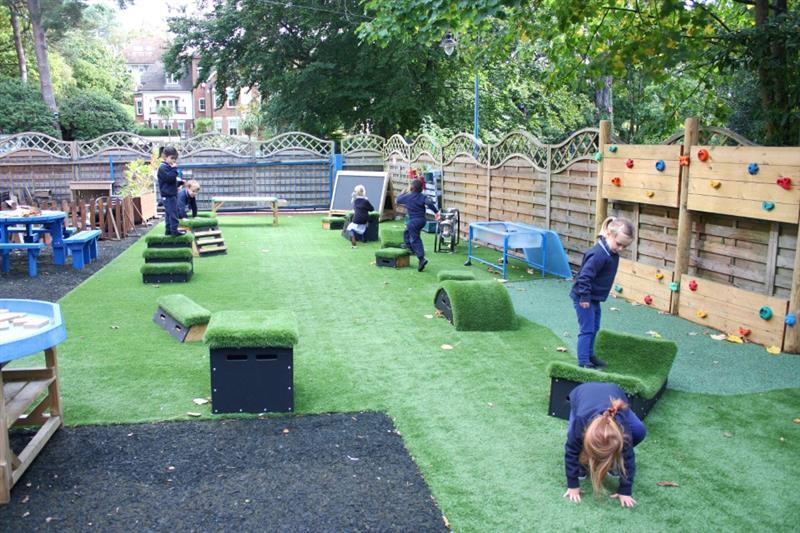 reception children stepping, balancing and climbing on get set go blocks
