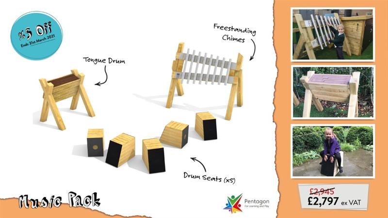 An infographic showing renders and names of what is included in Pentagon Plays online Outdoor Musical Instruments Package with 3 images on the right hand side