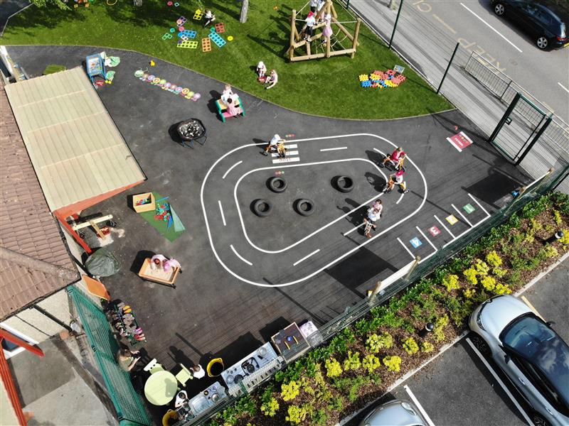 A birds eye view of the play area for hollywell primary schools