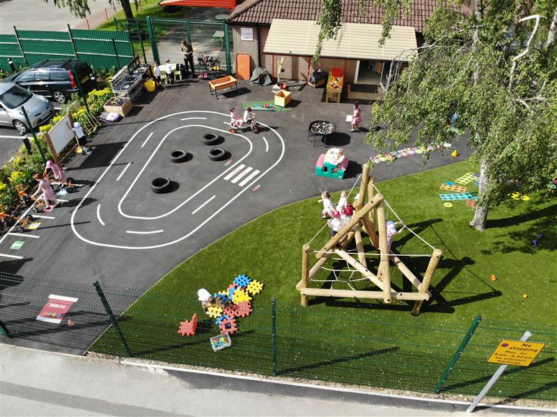 a birds eye view of the new eyfs area