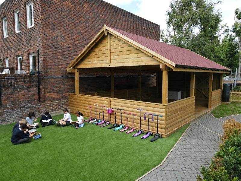 a side view of the artificial grass