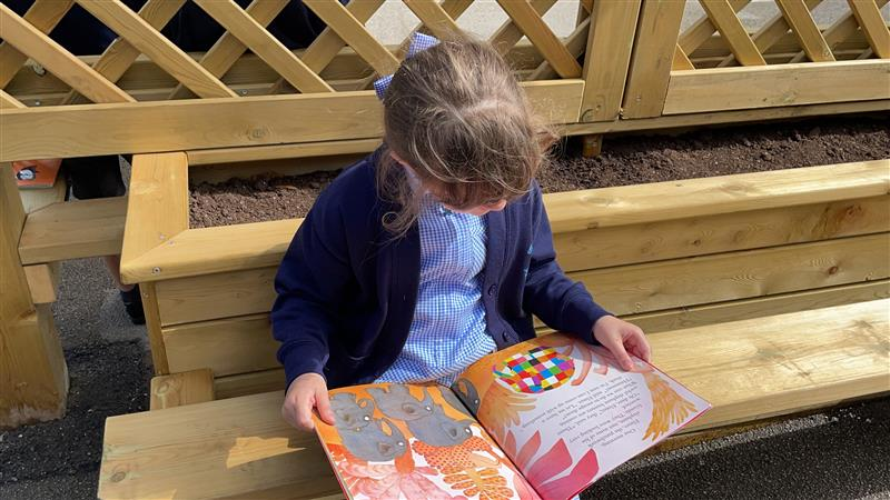 a young girl reading on the planters
