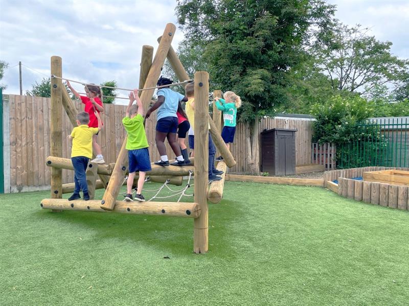 Children climbing on Trim Trail