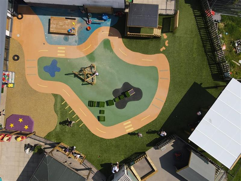 A birds eye view of Merlin Tops playground