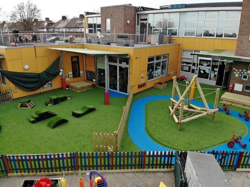 Aerial view of EYFS playground including artificial grass, bright blue safeturf in a roadway shape, a climbing frame, get set, go! blocks and a large sand box. All equipment has been installed in front of the school building.