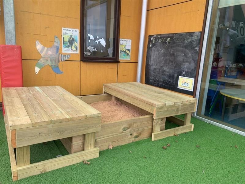 The large sand box which has been placed in front of the yellow school building by the large windows. The sand box has been installed onto artificial grass.