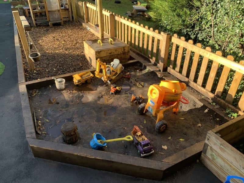 A floor level sand pit in a nursery garden