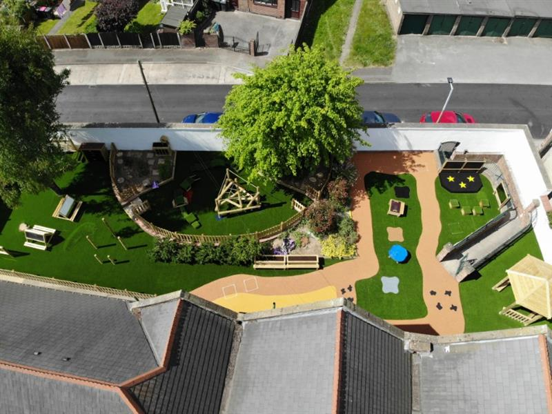 a drone photo of the new EYFS playground at Rawmarsh