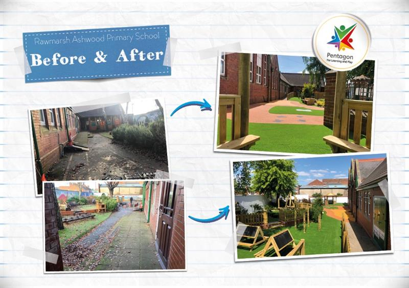 A image showing a before and after photo of Rawmarsh Ashwood Primary School's EYFS playground