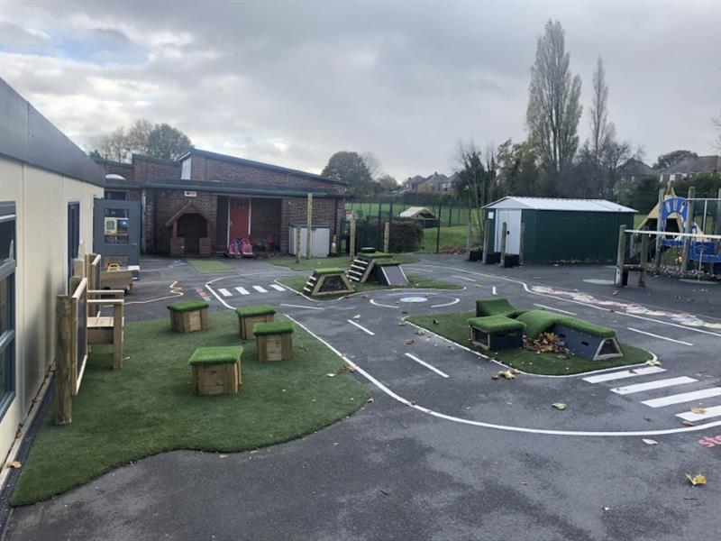 Playground equipment in an eyfs outdoor area