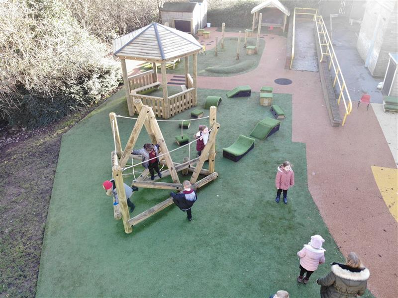 children playing on Tryfan Climber, with gazebo and Get Set, Go! Blocks.