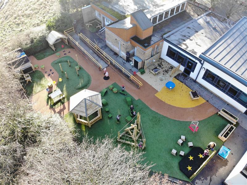 Children playing around the new playground