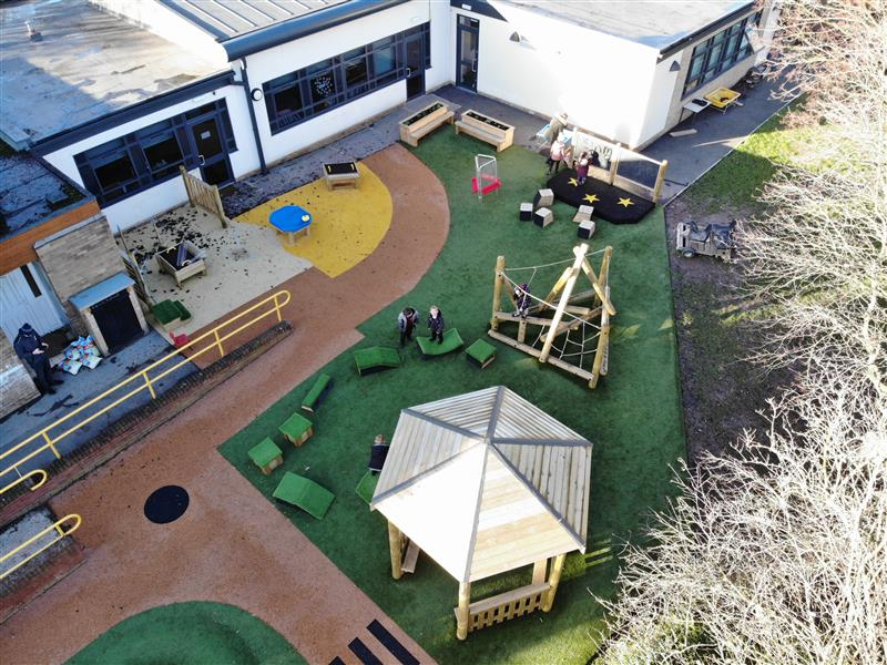 The whole playground transformation including a Gazebo, Tryfan Climber and Get Set, Go Blocks.