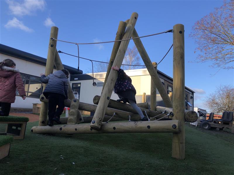 Children climbing on the Tryfan Climber