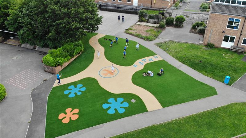 a birds eye view of the playground