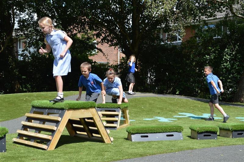 children playing on the get set go blocks