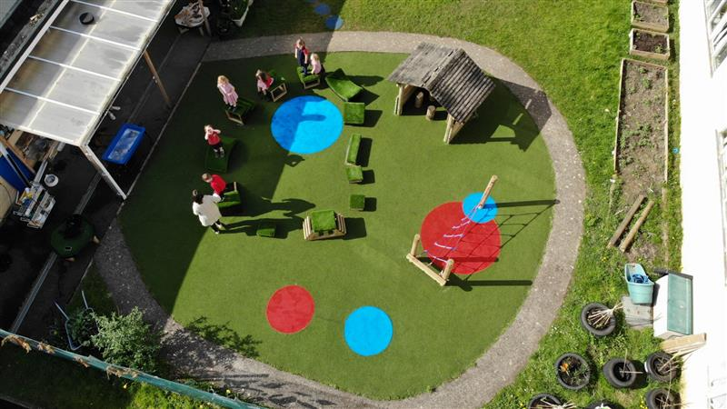 an overhead view of an eyfs playground environment