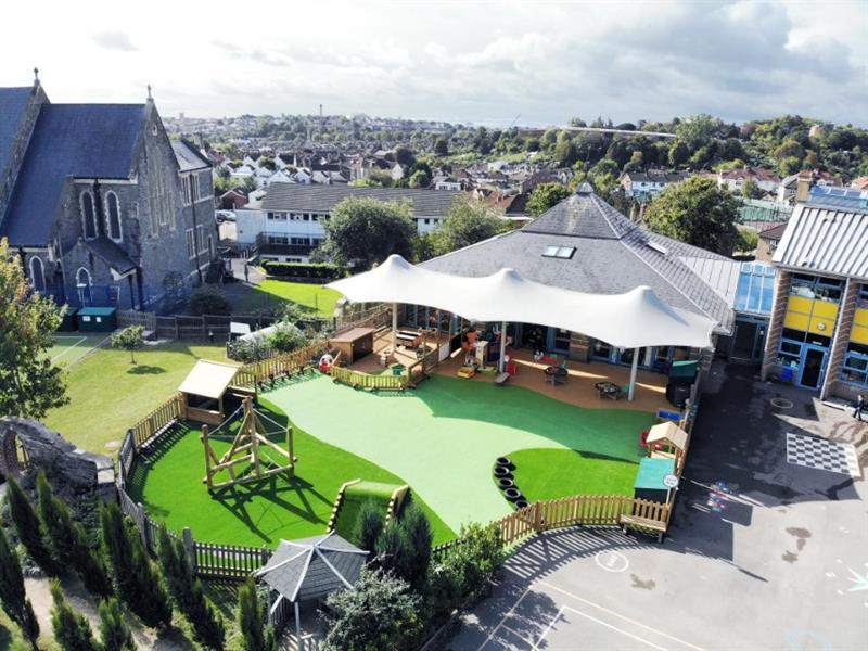 An overhead view of an eyfs playground design