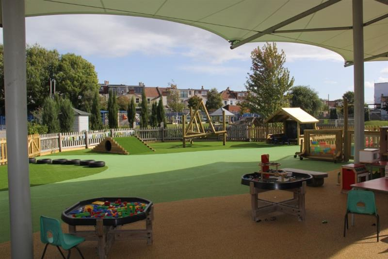 An eyfs playground with different coloured wet pour surfacing