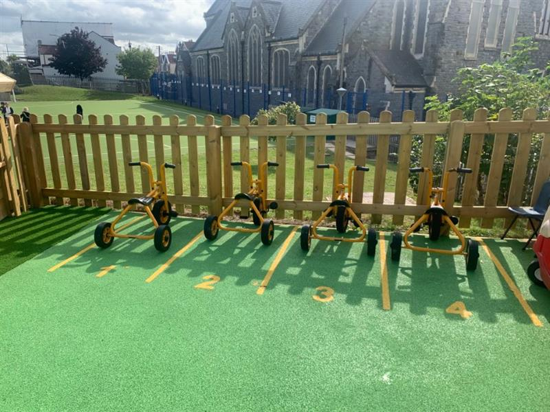 Numbered trike parking bays on an eyfs playground