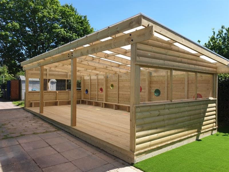 A Gable End Outdoor Classroom installed by Pentagon Play