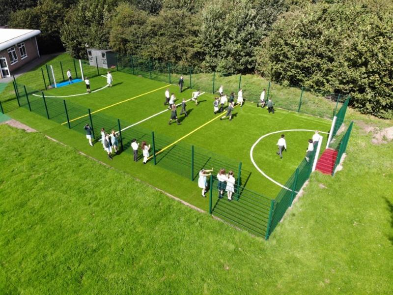 drone photograph of St Bede's MUGA Pitch