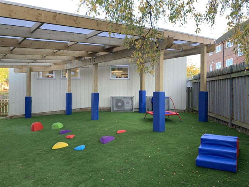 A timber canopy installed into a school playground