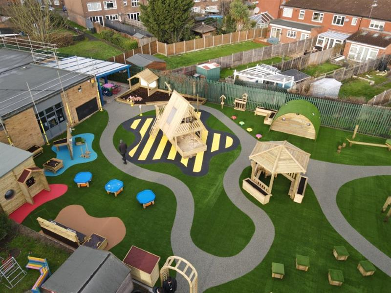 School playground equipment and school playground surfacing