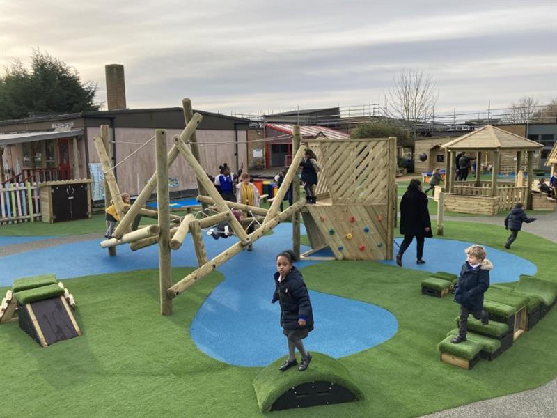 Children using get set go blocks to step, balance and climb