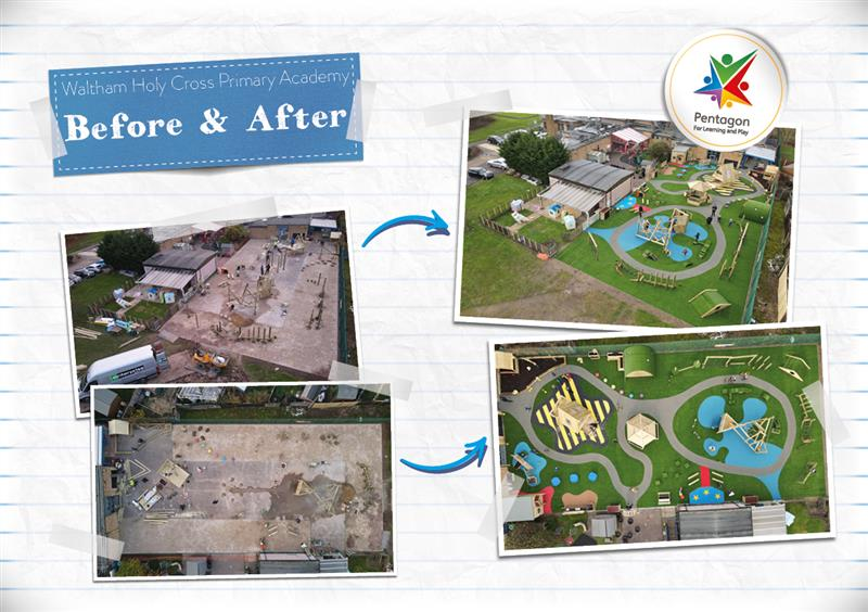Infographic showing Waltham Holy Cross School's Playground Before Pentagon's Development