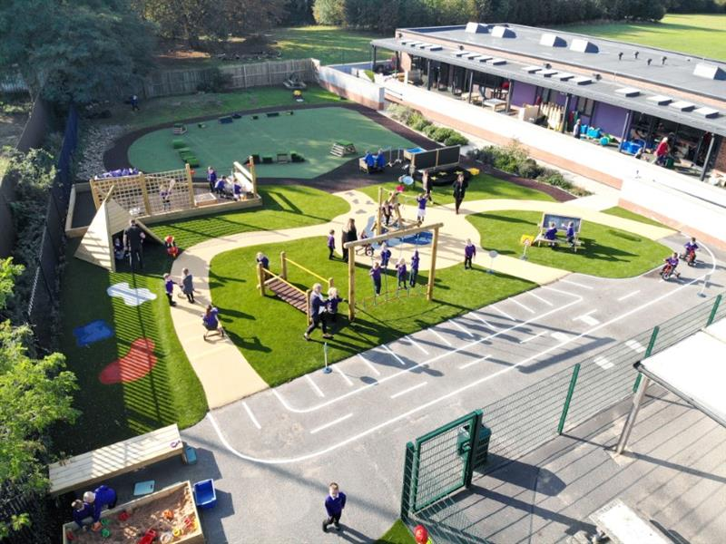 An ariel photograph of Pentagon Play's entire EYFS playground at Selby School