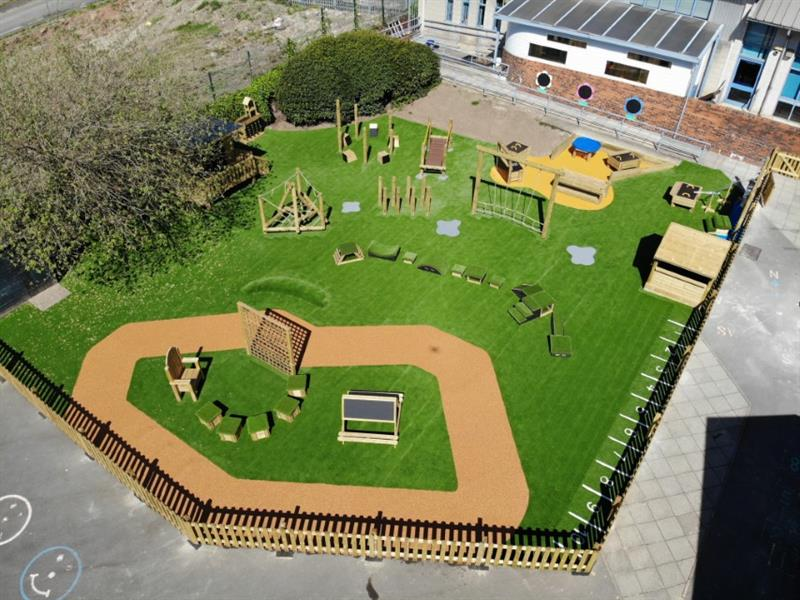 A drone photo of Pentagon Play's entire EYFS playground design