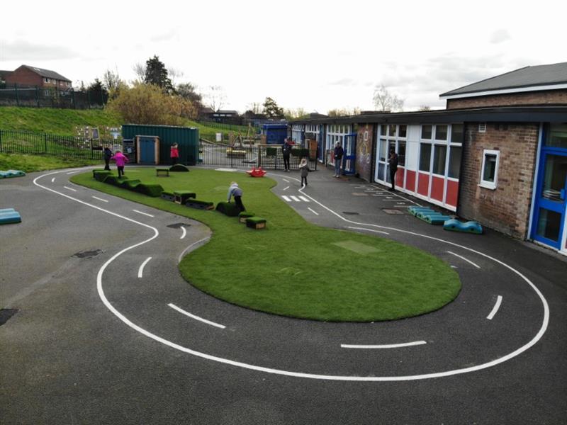 EYFS playground equipment installed onto a school playground