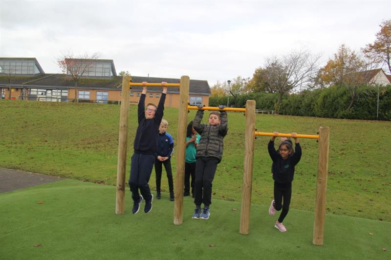 Children hanging from pull up bars