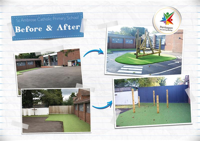 A before and after infographic showing the playground improvements at St Ambrose Primary School
