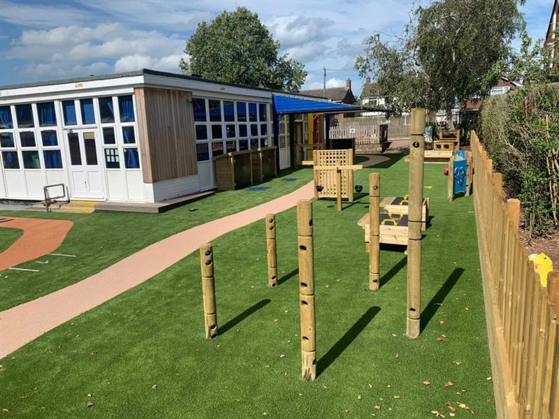 Construction play equipment installed into an eyfs playground