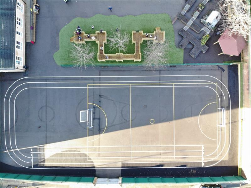 An overhead shot of the school playground development at Smithdown Primary School