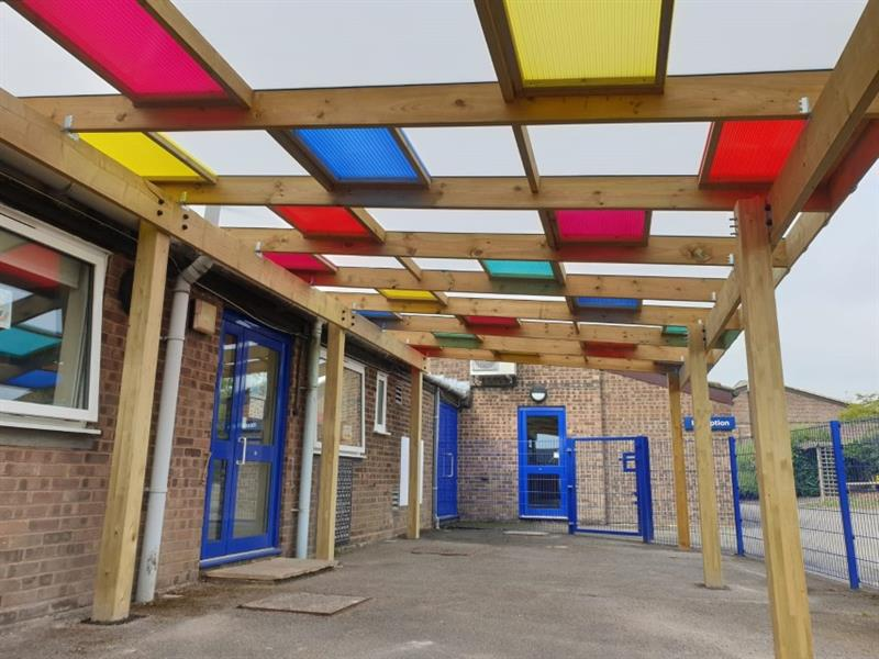 A multi coloured roof canopy
