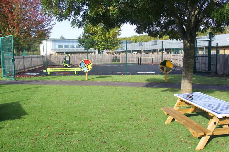Sensory spinners installed onto artificial grass