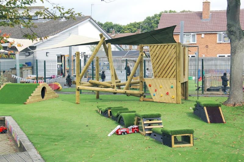 Pentagon Play's Get Set, Go! Blocks on a school playground