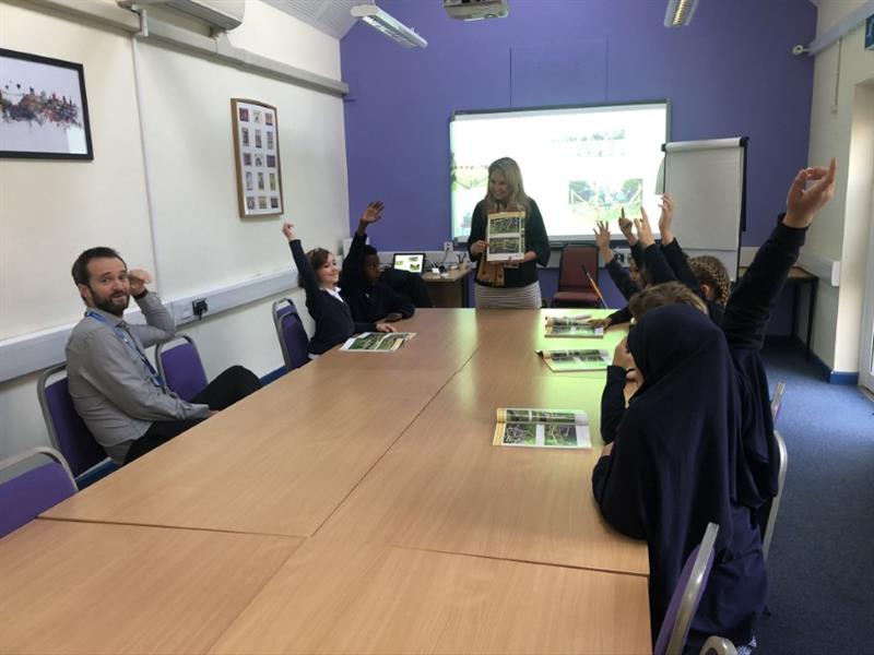 Becky Hazell attending a school council meeting to discuss the playground developments