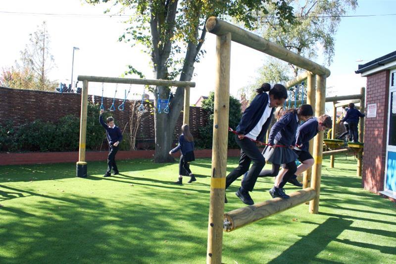 Children playing on school playground equipment