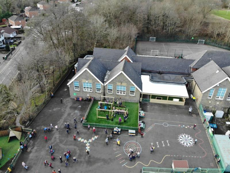 A drone photo of the school's playground