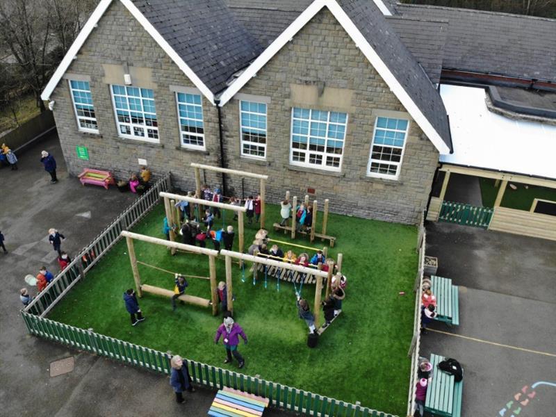 KS1 children playing on their new playground